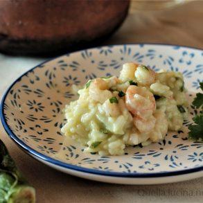 risotto zucchine e gamberetti in pentola a pressione